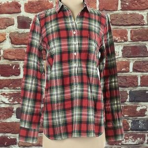 J. CREW RED PLAID POPOVER FLANNEL WOMEN'S BLOUSE